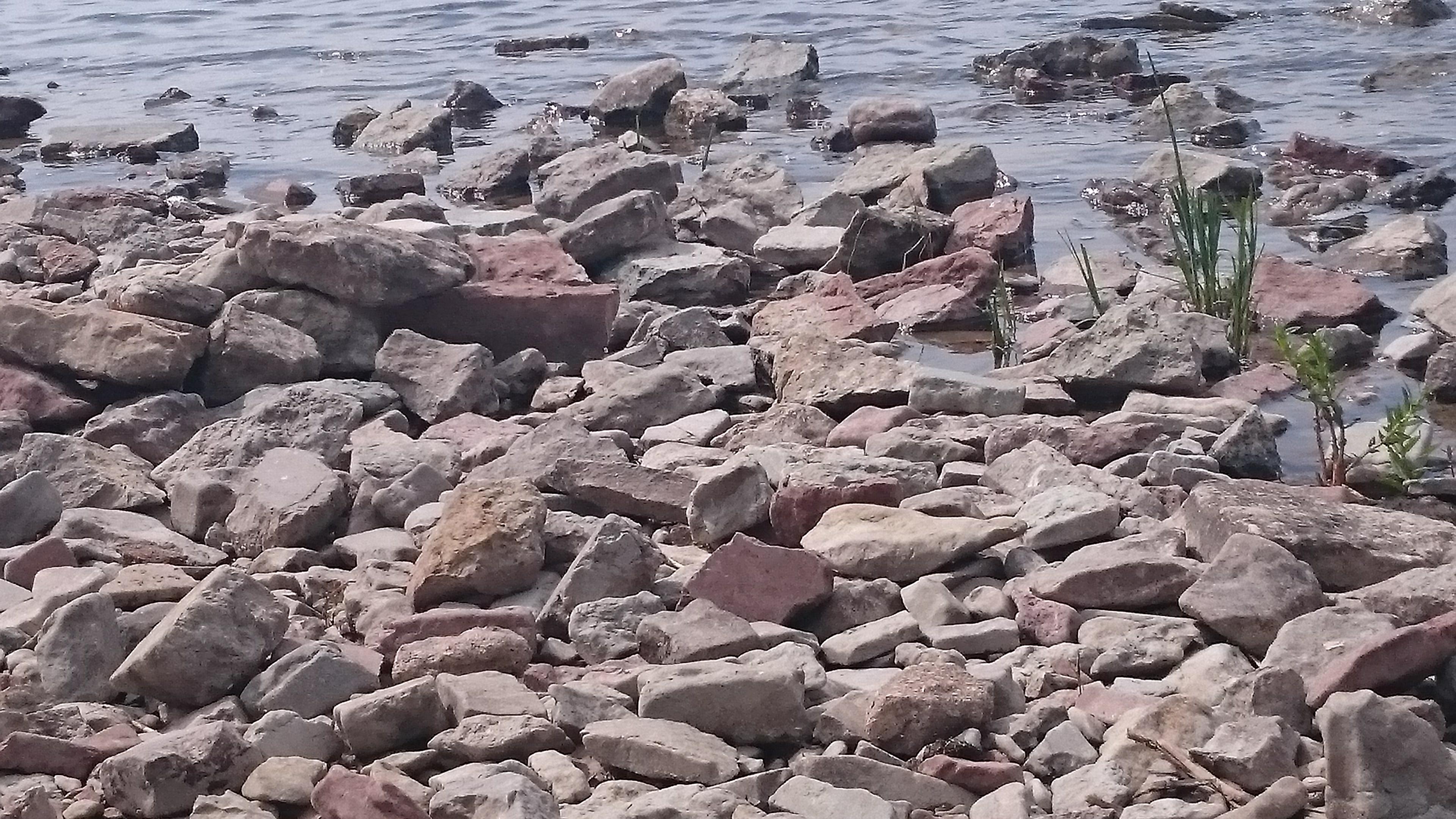 Stenig strandlinje.